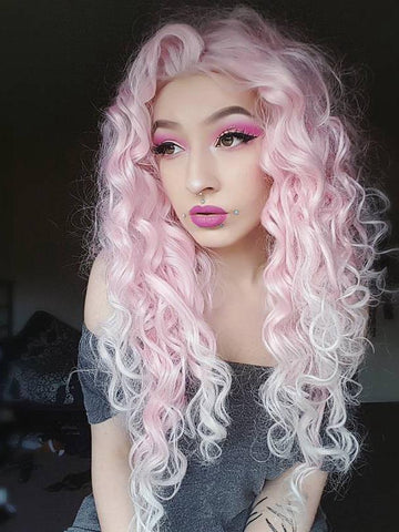 Pink Mixed White Two Tone Color Curly Lace Front Synthetic Wig AM1831001001