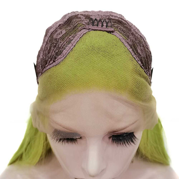 Mustard Green Long Straight Wig W78-T0445