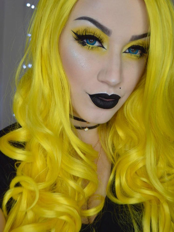 Long Loose Big Wavy Yellow Synthetic Lace Front Wigs - Imstylewigs