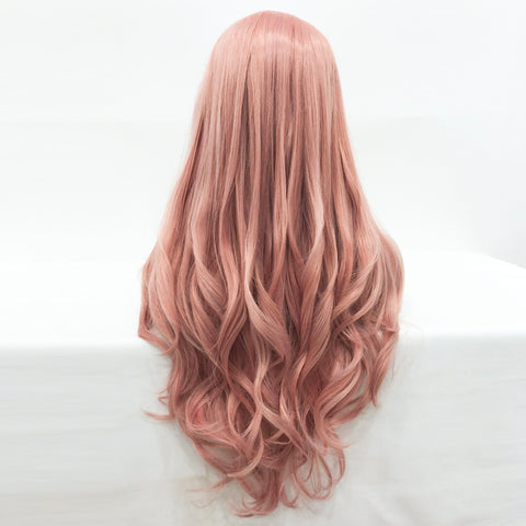 Peach Pink Mixed Color Synthetic Lace Front Wigs AMC1