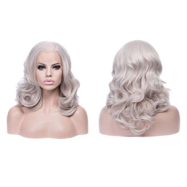 Grey Bob Medium Wavy Glueless Lace Front Wigs - Imstylewigs