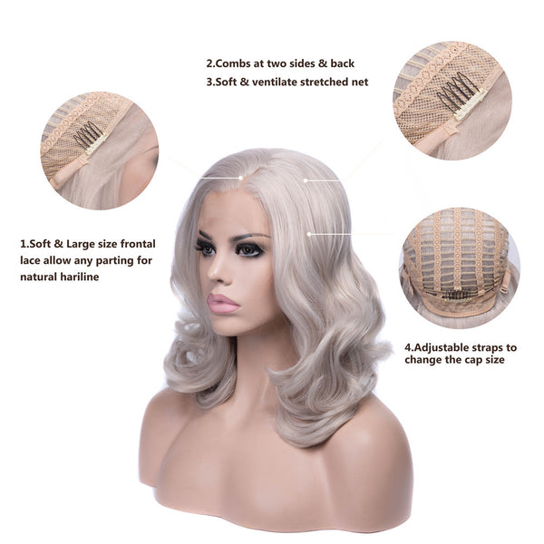 Grey Bob Medium Wavy Synthetic Lace Front Wigs - Imstylewigs