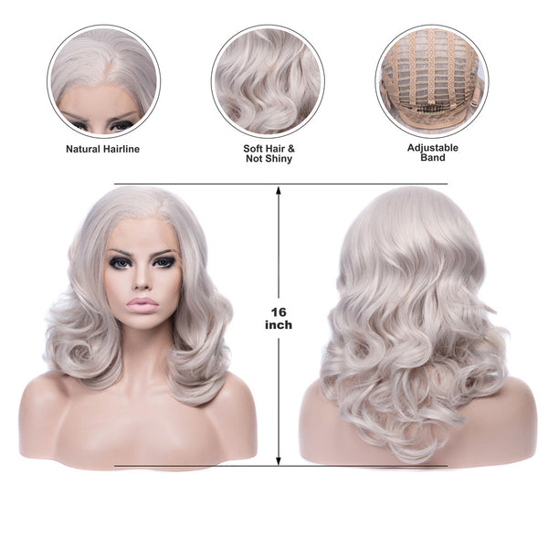 Grey Bob Wavy Glueless Synthetic Lace Front Wigs - Imstylewigs