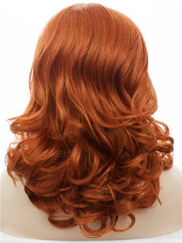 Red Orange Mixed Auburn Wavy Glueless Synthetic Lace Front Wigs - Imstylewigs