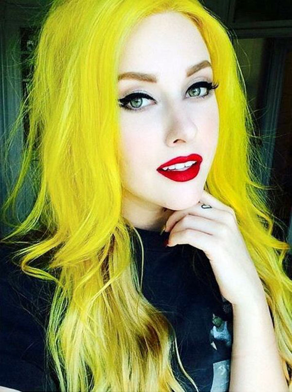 Long Straight Sunshine Yellow Synthetic Lace Front Wigs - Imstylewigs