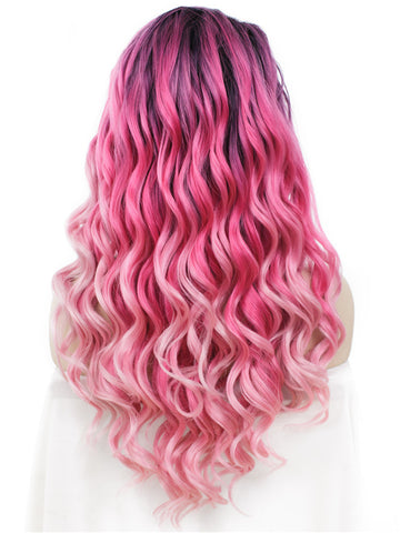 Punch Pink Long Wavy Lace Front Wigs - Imstylewigs
