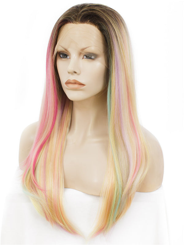 Long Iris Pink Glueless Synthetic Lace Front Wigs - Imstylewigs