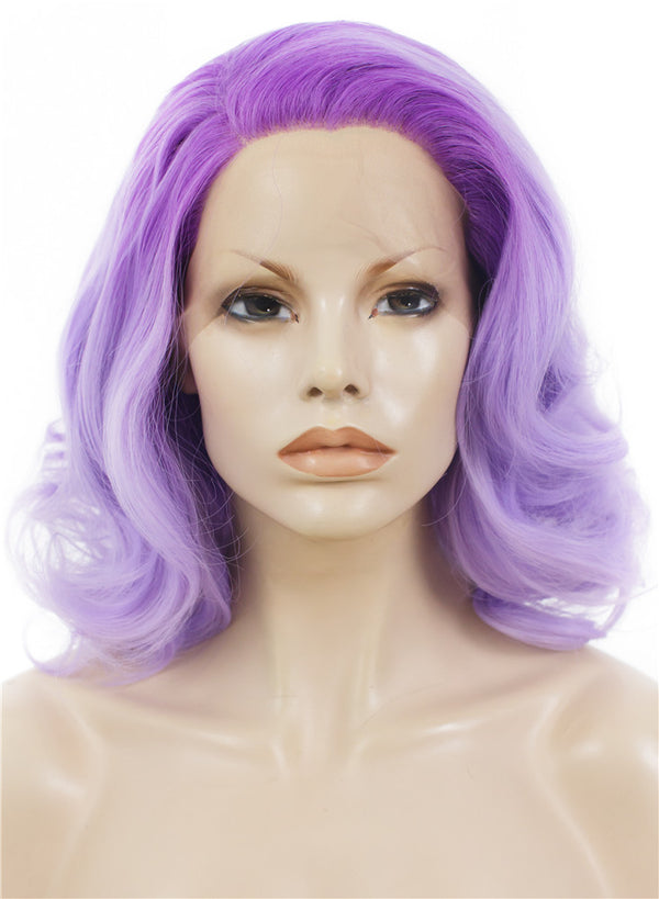 Lilac Purple Wave Synthetic Lace Front Wigs - Imstylewigs