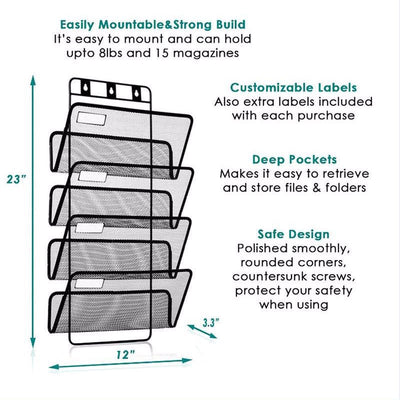 4-Pocket Hanging Wall File Organizer, Folder Holder + Mounting Hardware + Labels