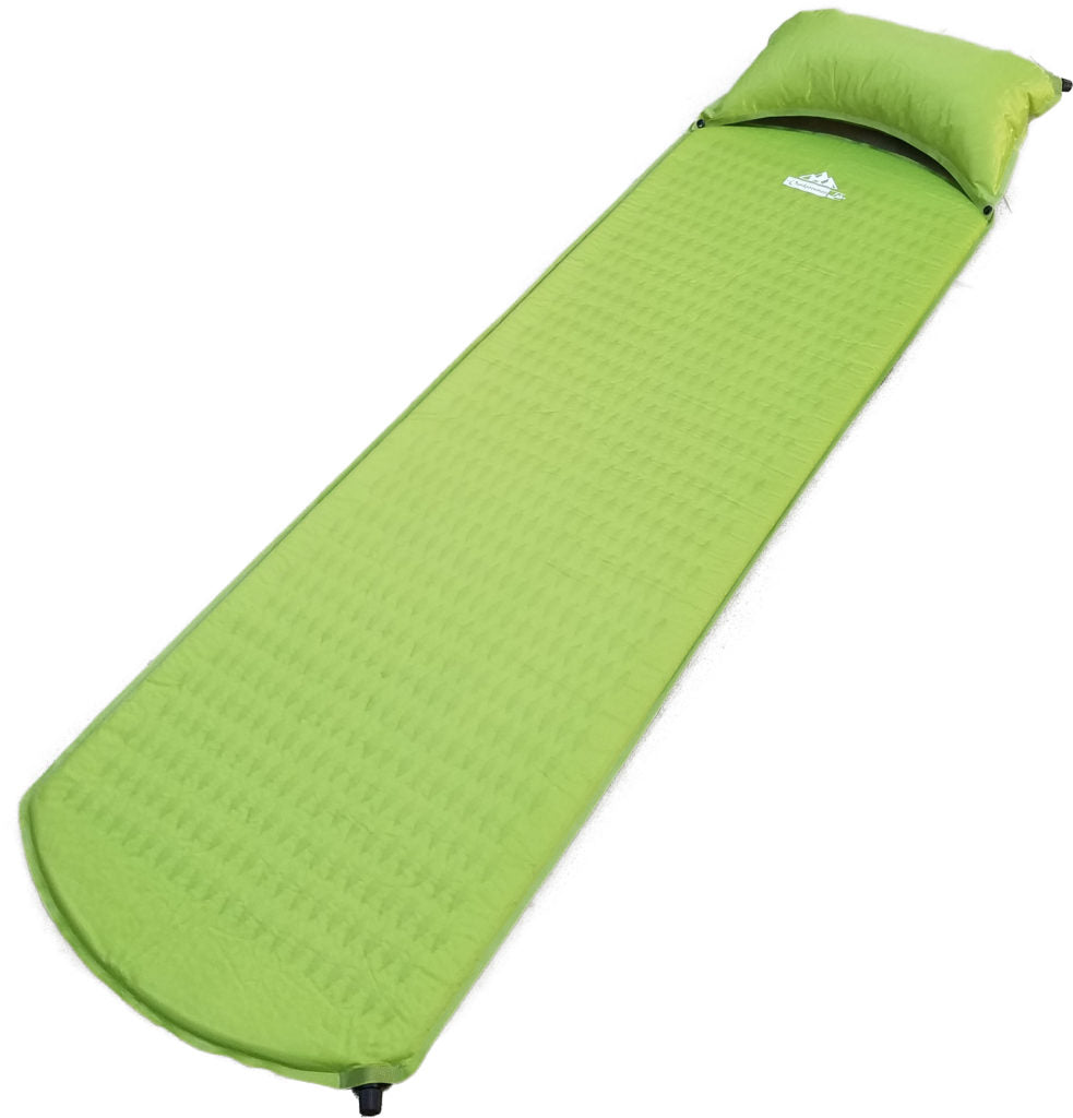 self-inflating sleeping pad w/ self inflating pillow