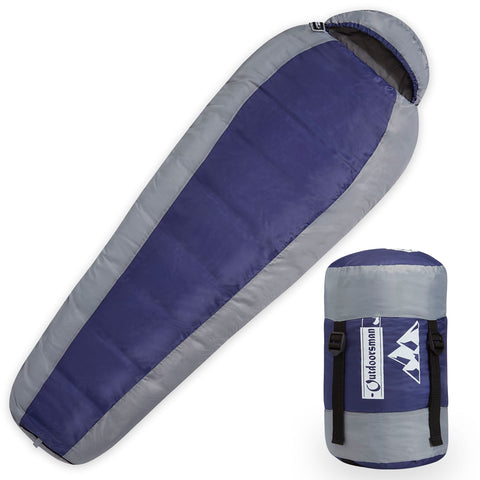 Outdoorsman Lab Lightweight Mummy Sleeping Bag with Compression/Stuff Sack