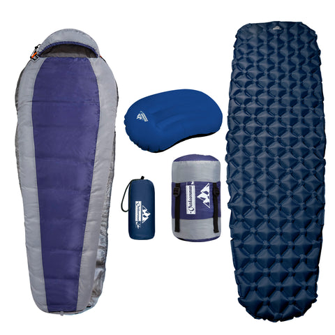 Mummy Sleeping Bag, Inflatable Sleeping Pad & Pillow BUNDLE