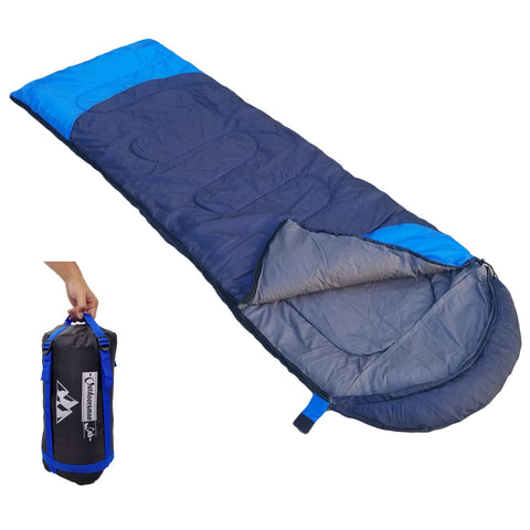 OutdoorsmanLab Lightweight Sleeping Bag (32F) w/ Hood (Dark Blue)