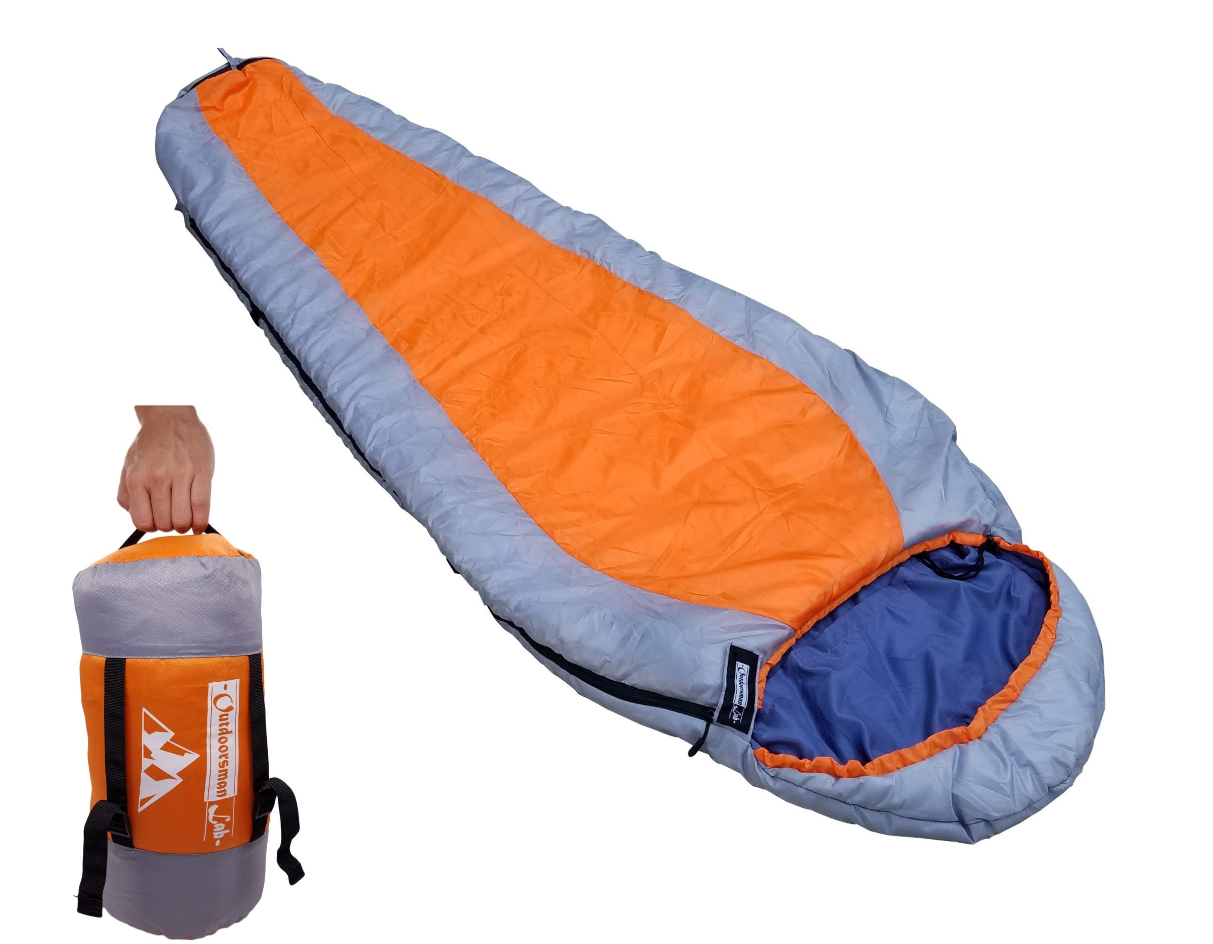 Mummy Sleeping Bag Orange - OutdoorsmanLab