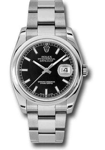 116200 Rolex SS Datejust 36 Index Black Dial Oyster 36 mm