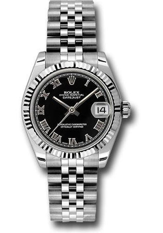 178274 Rolex Lady Datejust 18k White Gold 31mm Black Roman Dial Jubilee Bracelet