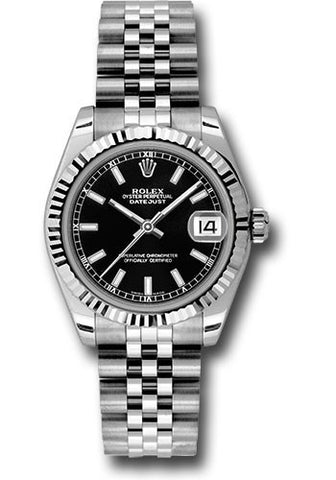 178274 Rolex Lady Datejust 18k White Gold 31mm Black Index Dial Jubilee Bracelet