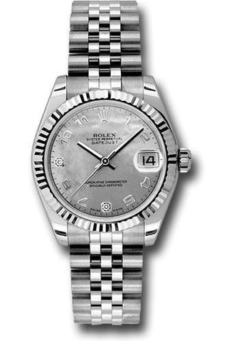 178274 Rolex Lady Datejust 18k White Gold 31mm Mother of Pearl Arabic Dial Jubilee Bracelet