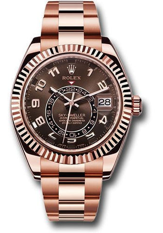 326935 Rolex Sky-Dweller 18k Everose Gold Chocolate Dial Sundust 42mm