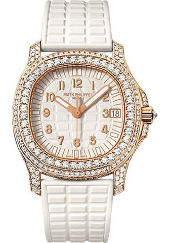 Patek Philippe Ladies Aquanaut 35mm 18k Rose Gold 387 3.25ct Diamonds