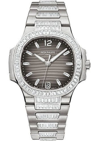 Patek Philippe Ladies Nautilus 18k White Gold 56 Baguette 2.42ct Diamonds 33mm