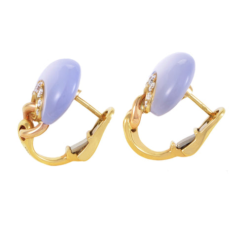 Chimento Passione Womens 18K Yellow Gold Diamond and Chalcedony Huggie Earrings