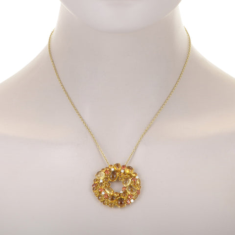 Roberto Coin Shanghai 18K Yellow Gold Diamond and Citrine Pendant Necklace