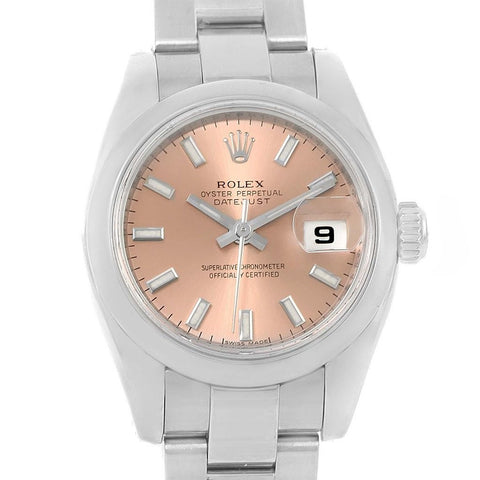 179160 Rolex Datejust Rose Baton Dial Stainless Steel