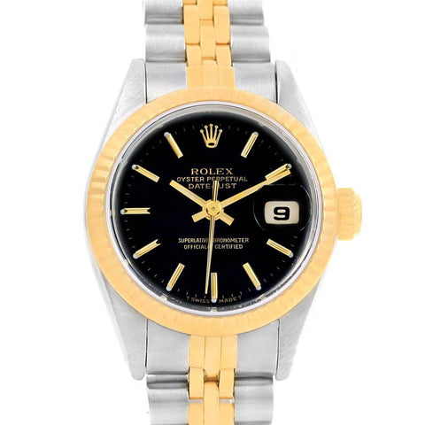 69173 Rolex Datejust Steel 18K Yellow Gold Black Dial Ladies Watch