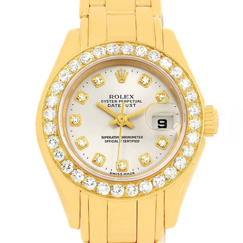 69298 Rolex Pearlmaster Yellow Gold Diamond Dial Bezel Ladies Watch
