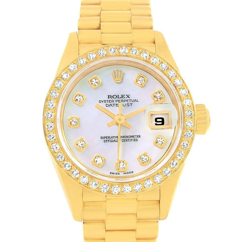 69138 Rolex President Datejust 18K Yellow Gold MOP Diamond Watch