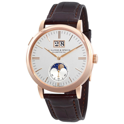 A. Lange & Sohne 18k Rose Gold Silver Dial 384.032 Saxonia Moon Phase