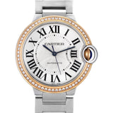 Cartier Watch 36mm / Silver Cartier Ballon Bleu .73ct 58 Diamonds Tu-tone 18k Rose Gold/Stainless Steel 36mm