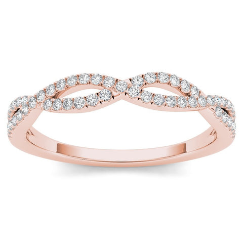 Dejaba Bracelet Size-6 / Rose Gold / 10k Rose Gold 10k Rose Gold 1/6ct Diamond Criss-Cross Ring