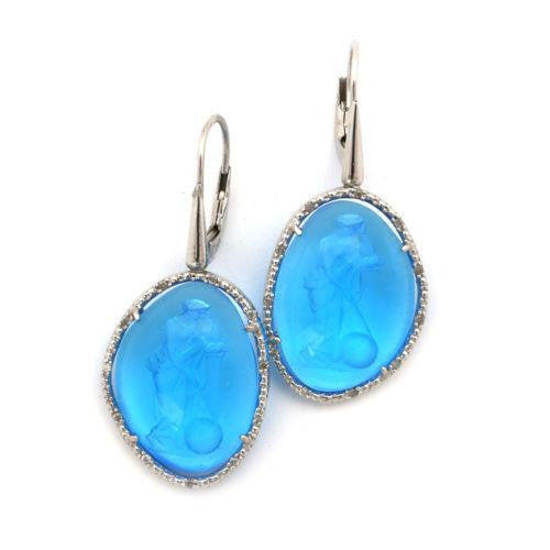 DEJABA Earrings .11ct / Blue Diamond .11 Carat Sterling Silver Goddess Blue Venus Earrings