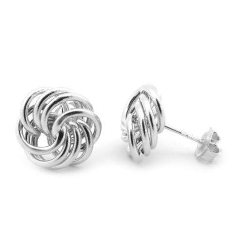 DEJABA Earrings 12mm / Silver / White Gold 14k White Gold 12mm Large Love Knot Earrings