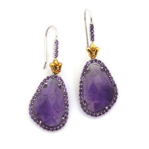 DEJABA Earrings Small / Amethyst 18k Gold Sterling Silver Amethyst Gemstone 2 inch Earrings