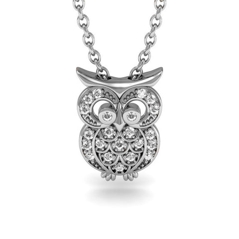 Dejaba Jewelry 18 in / Sterling Silver 1/4 Carat Diamond Owl Necklace, Sterling Silver, 18 Inches