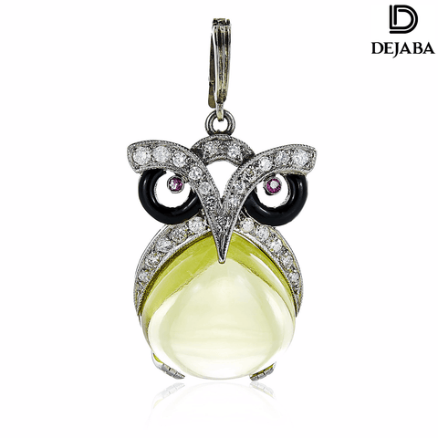 Dejaba Necklace 18 in / Platinum Platinum 1/3ct Antique Owl Pendant Estate Necklace (H-I, SI1-SI2)