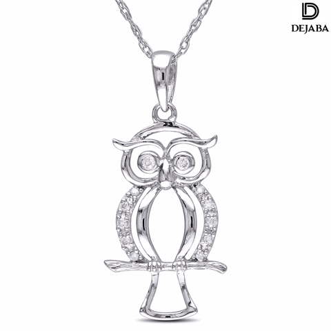 Dejaba Necklace 18 in / Silver / Sterling Silver 10k White Gold Diamond Accent Owl Necklace (H-I, I2-I3)