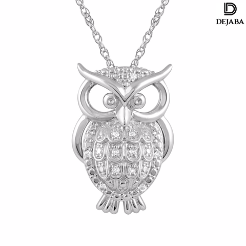 Dejaba Necklace 18 in / Silver / Sterling Silver Sterling Silver 1/10 ct T.W. White Diamond Owl Pendant with Chain (I-J, I2-I3)