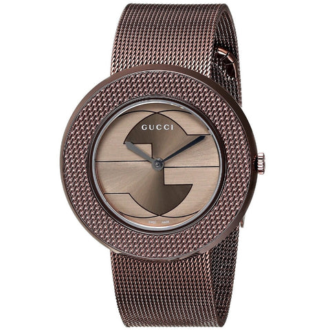 Gucci Watch 20mm / Stainless Steel Gucci Women's 'U-Play' Swiss Quartz Brown Stainless Steel Mesh Watch