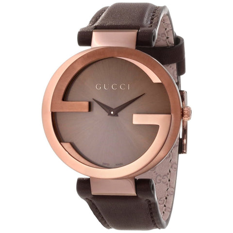 Gucci Watch 22mm / Brown / Stainless Steel Gucci Men's 'Interlocking' Brown Dial Brown Leather Strap Quartz Watch