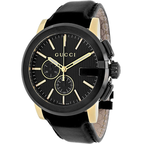 Gucci Watch 24mm / Black / Stainless Steel Gucci Men's 'Gucci G Chrono' Swiss Quartz Black Leather Watch