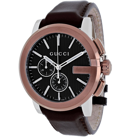 Gucci Watch 24mm / Stainless Steel / Brown Gucci Men's 'Gucci G Chrono'Swiss Quartz Brown Leather Watch