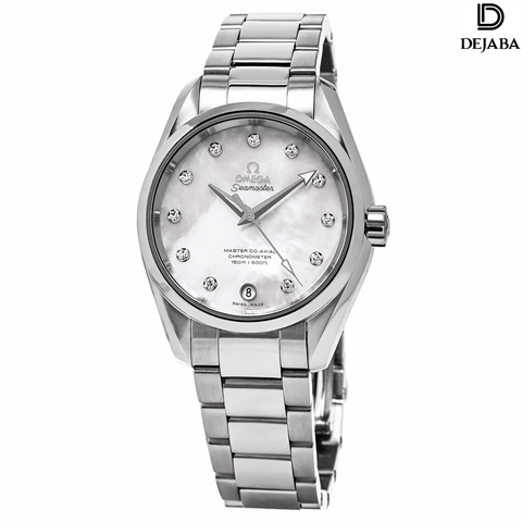 Omega Watch 17mm / Stainless Steel Pre-owned Unworn Omega Women's 'Aqua Terra' Mother of Pearl Diamond Dial