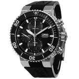 Oris Watch 25mm / Stainless Steel Pre-Owned Oris 'Aquis' Black Dial Black Rubber Strap Automatic Chronograph Watch