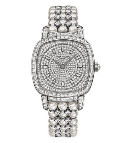 "Patek Philippe ""Queen Elizabeth"" 31mm Gondolo  Diamond Pave 18k White Gold 2.33ct 78 Baguettes"