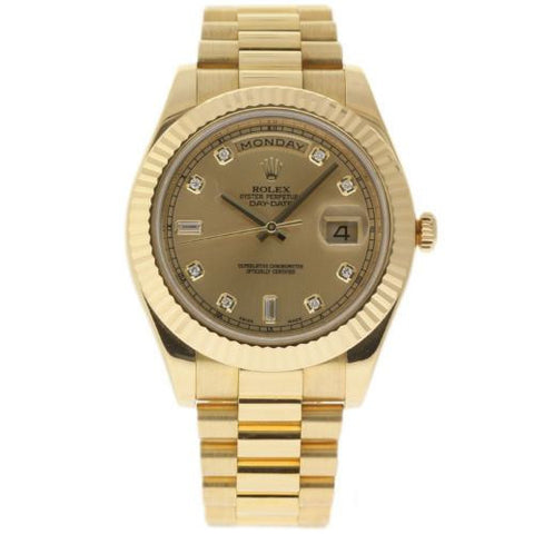 Rolex Pre-owned Watch 41mm / Champagne 218238 ♛ Rolex ♛ Day Date II President 18K Yellow Gold 41mm Diamond Champagne Dial
