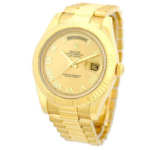 Rolex Pre-owned Watch 41mm / Gold 218238 ♛ Rolex ♛ Day Date II President 18K Yellow Gold 41mm Gold Roman Numerals Dial